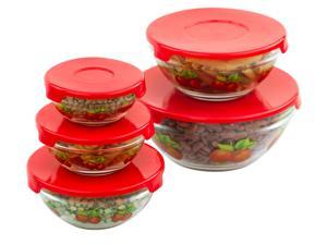 Imperial Home 5Pcs Glass Bowls w/ Red Lids - Food Storage Containers - Nesting Glass Lunch Bowls