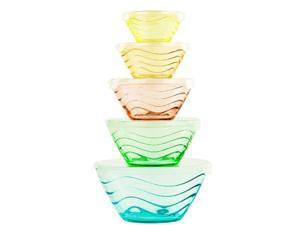 5 Pc All Purpose Glass Bowls w/ Clear Lids - Food Storage Containers - Nesting Lunch Bowls (Multicolored Wave Design)