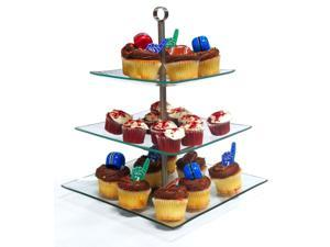 3 Tier Square Glass Cupcake Dessert Stand - Party Display Tray or Cupcake Holder