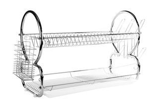 2 Tier Stainless Steel Dish Rack - 22 Inch Dish Drainer w/ Clear Tray and Round Bars