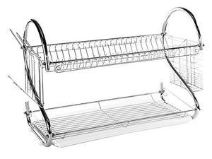 "2 Tier Stainless Steel Dish Rack - Dish Drainer w/ Clear Tray & ""S"" Shaped Design (22 inches)"