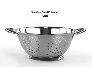 5 Quart Deep Stainless Steel Colander - Durable Strainer