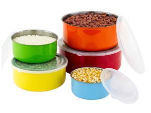 5 Pc Colorful Food Storage Containers Set - Travel Steel Lunch Bowls w/ Airtight Lids