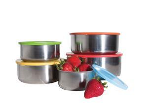 5 Pc Stainless Steel Food Storage Containers Set - Lunch Bowls or Serving Bowls w/ Multi-Colored Lids