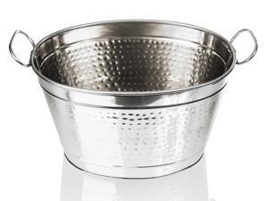 "Stainless Steel Beverage Tub – 14"" Hammered Large Ice Bucket Metal Tub - Beer Tub"