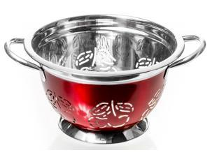 Stainless Steel Colander - 3 QT Red Kitchen Strainer (Cherry Cut Out)
