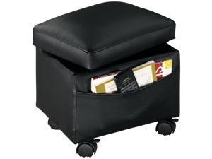 Black Storage Ottoman w/ Tray & Wheels – Rolling Footstool or Foot Rest - Under Desk Foot Rest Ottoman Tray