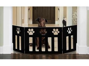"48"" Freestanding Pet Gate w/ Paw Cut Out – Wood Dog Gates Indoor – Folding Dog Fence Puppy Gate"