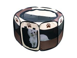 Portable Dog Pen – Outdoor & Indoor Puppy Pen – Paw Print Dog Playpen or Dog Exercise Pen