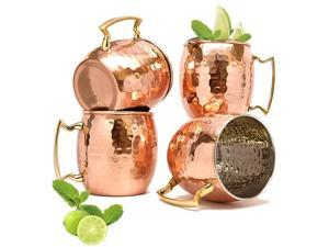 Imperial Home Hammered Finish Copper Moscow Mule Mugs - 16 Oz Stainless Steel Moscow Mule Cups (4 Pack)