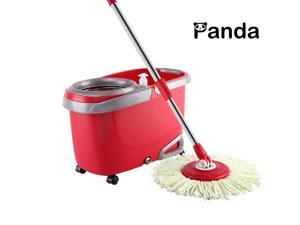 Panda Stainless Steel Deluxe Wringing Basket High Speed Spin Mop and Turbo Bucket System-2 sets Mopping rod and Mop Plate,5 Mop Heads