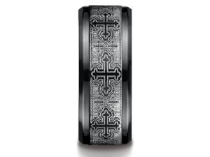 Benchmark Black Titanium 9Mm Comfort-Fit Cathedral Cross Design Ring Band