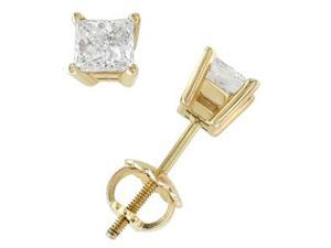18k Yellow Gold & Princess Diamond Stud Earrings (0.50 ctw)