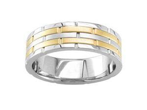 Men'S Handmade 14K Two Toned Brick Comfort-Fit Wedding Band (6.50 Mm)