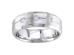 1/5 Carat Diamond Men'S Handmade 14K White Gold Beveled Edge Comfort-Fit Wedding Band