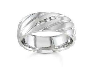 14K White Gold Diamond Licorice Twist Wedding Ring (7.50 Mm)