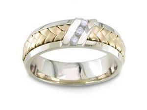 1/10 Carat Diamond Handmade 14K Two Toned Gold Comfort-Fit Wedding Ring