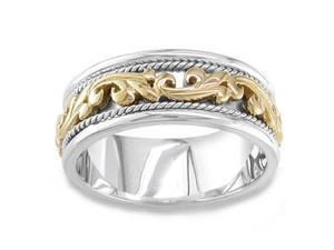 Men'S Handmade 14K Two Tone Gold Carved Braided Wedding Band (9.00 Mm)