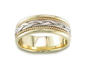 Men'S Handmade 14K Two Toned Gold Braided Comfort-Fit Wedding Band Ring (7.00 Mm)