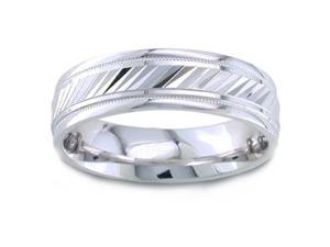 Men'S 14K White Gold Engraved Comfort-Fit Wedding Band (6.50 Mm)