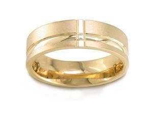 Men'S 14K Yellow Gold Artistic Flat Comfort-Fit Wedding Band (6.50 Mm)