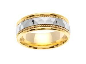 Men'S Handmade 14K Two Toned Gold Hammered & Braided Comfort-Fit Wedding Band (8.00 Mm)