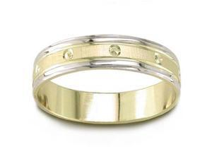 14K Two Toned Gold Carved Wedding Band (5.00 Mm)