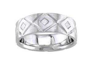 Men'S Handmade 14K White Gold Diamond Comfort-Fit Wedding Ring (0.18 Ctw)