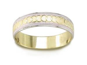14K Two Toned Gold Celtic Wedding Band (5.00 Mm)