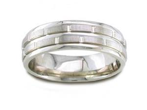 14K White Gold Brick Pattern Comfort-Fit Wedding Band (6.50 Mm)