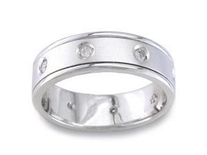 1/5 Carat Diamon 14K White Gold Eternity Mod Comfort-Fit Wedding Ring