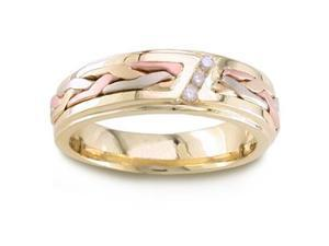 Men'S Handmade 14K Tri Colored Gold 3 Stone Diamond Braided Comfort-Fit Wedding Ring (0.09 Ctw)
