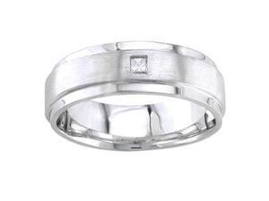 Men'S Handmade 14K White Gold Diamond Simple Comfort-Fit Wedding Ring (0.07 Ct)