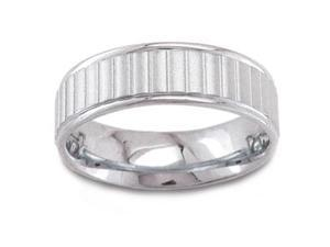 Men'S 14K White Gold Ribbed Comfort-Fit Wedding Band (6.50 Mm)