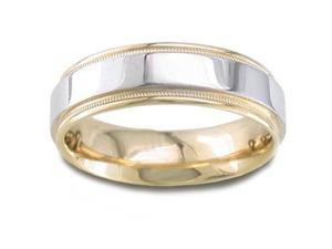 Men'S 14K Two Toned Gold Elegant Comfort-Fit Wedding Band (6.50 Mm)