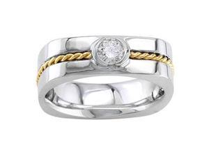 Men'S Handmade 14K Two Toned Gold Diamond Comfort-Fit Wedding Ring (0.27 Ct)