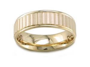 Men'S 14K Yellow Gold Sandblasted Ribbed Comfort-Fit Wedding Band (6.50 Mm)