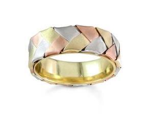 Men'S Handmade 14K Tri-Color Gold Braided Ribbon Comfort-Fit Wedding Band (7.00 Mm)