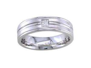 1/10 Carat Diamond 14K Men'S White Gold Comfort-Fit Wedding Ring