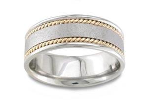 Men'S Handmade 14K Two Toned Gold Textured Braid Comfort-Fit Wedding Band (8.00 Mm)
