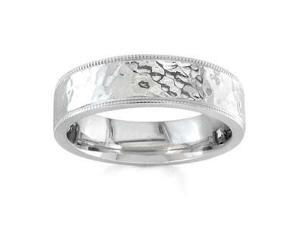 Men'S Handmade 14K White Gold 'Ripples On The Water' Hammered Comfort-Fit Wedding Band (7.00 Mm)