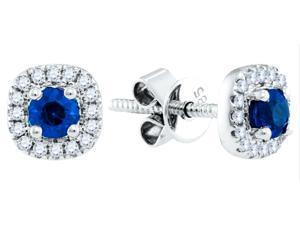 14K White Gold 0.67 Ctw Diamond Sapphire Fashion Earrings