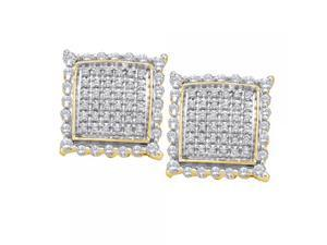 10k Yellow Gold 0.50 CTW Diamond Micro Pave Stud Earrings - 2.41 gram  - #556-55027