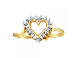 14k Yellow Gold 0.05Ctw Round Diamond Ladies Heart Cluster Ring