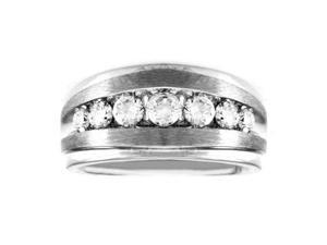 1 Carat Diamond Men'S 14K White Gold Anniversary Wedding Ring
