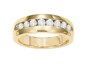 Men'S 1 Carat Diamond 14K Yellow Gold Wedding Anniversary Ring