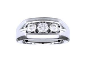 3/4 Carat 3 Stone Diamond 14K White Gold Men'S Ring