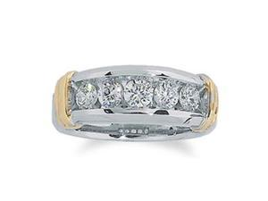 Men'S 1 Carat Diamond 14K Two-Tone Gold Designer Wedding Anniversary Ring