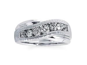 Men's 1 Carat Diamond 18k White Gold Designer Wedding Anniversary Ring