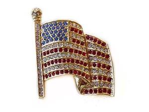 24k Gold Plated Swarovski Crystal American Flag Pin/Brooch 1 1/2 inches x 1.00 inch (Boxed)